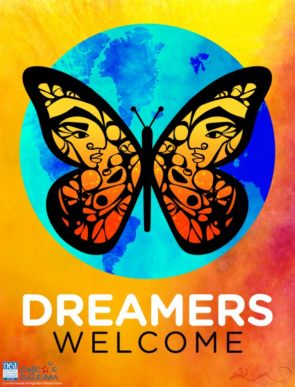 DACA butterfly logo stating dreamers welcome