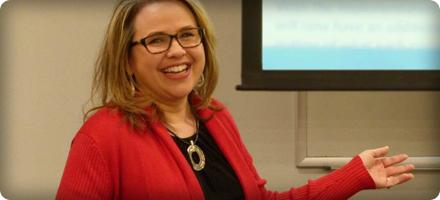 View of Lori Ann Young teaching, selected as Liberal Arts Division Faculty of the Month